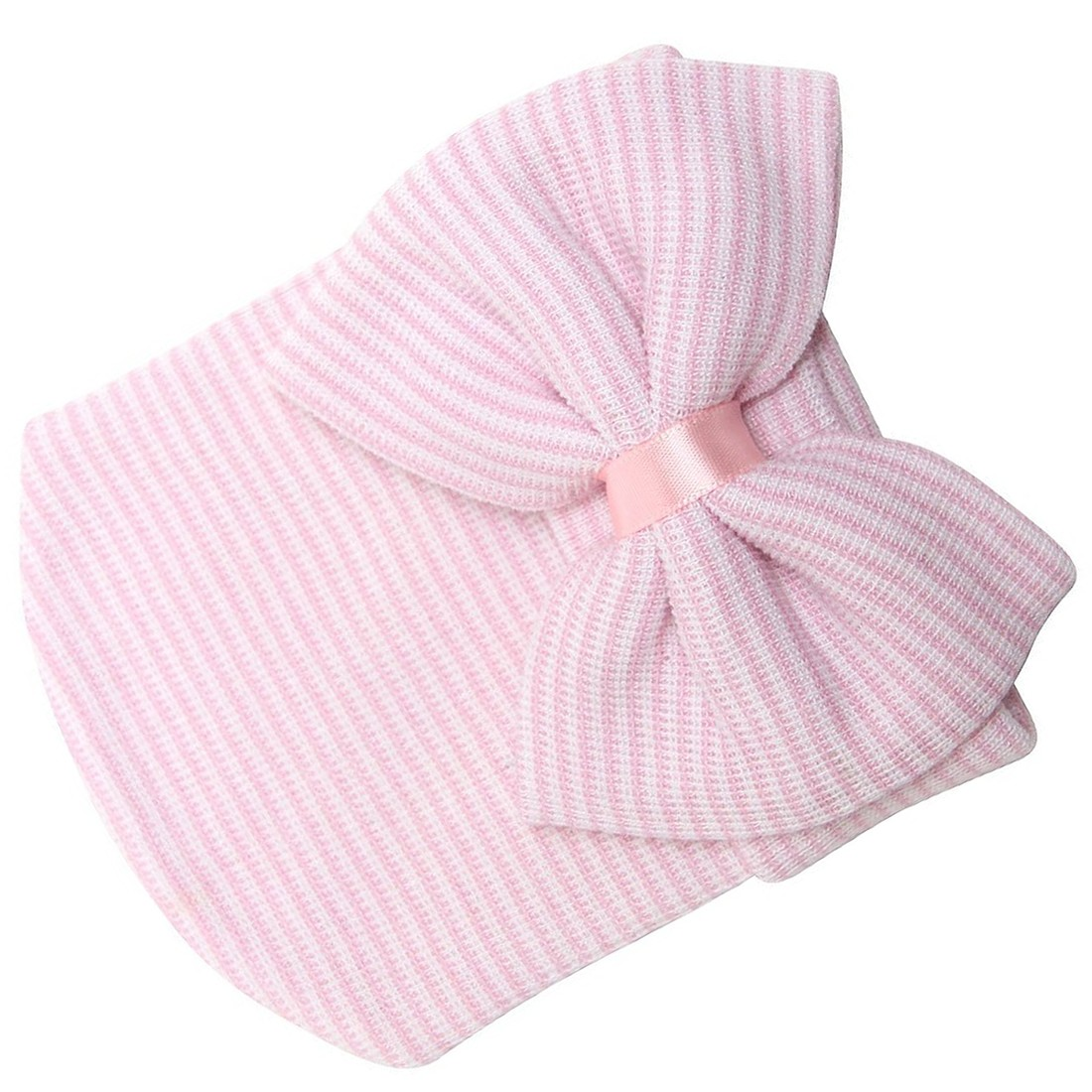 MACH Newborn Baby Beanie Hospital Hat With Bow Cute Soft Sweet Baby Cap (Pink)