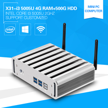 Core i3 5005U Dual Core Mini PC With HDMI+VGA Windows 10 Macor Computer Fanless Aluminum Alloy 4G Ram 500G HDD Wifi