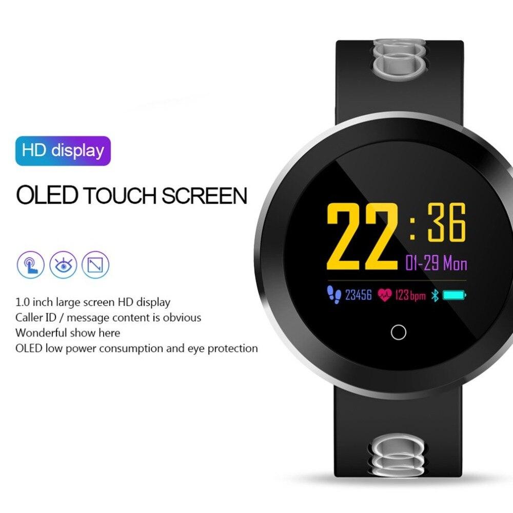 0.95 OLED Bluetooth Relógio Inteligente IP68 Polegada Q8 pro Das Senhoras Dos Homens À Prova D' Água Heart Rate Monitor de Fitness Rastreador Smartwatch