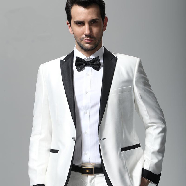 Men Suit White Tuxedo With Black Lapel Wedding Suit For Man Ternos ...