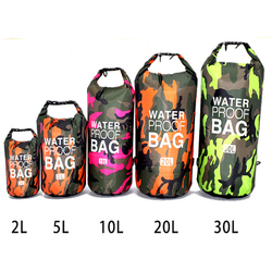 PVC Camouflage Waterproof Backpack Portable Outdoor Sport Rafting Bag River Tracing Swiming Bucket Dry Bag 2L 5L 10L 15L 20L 30L
