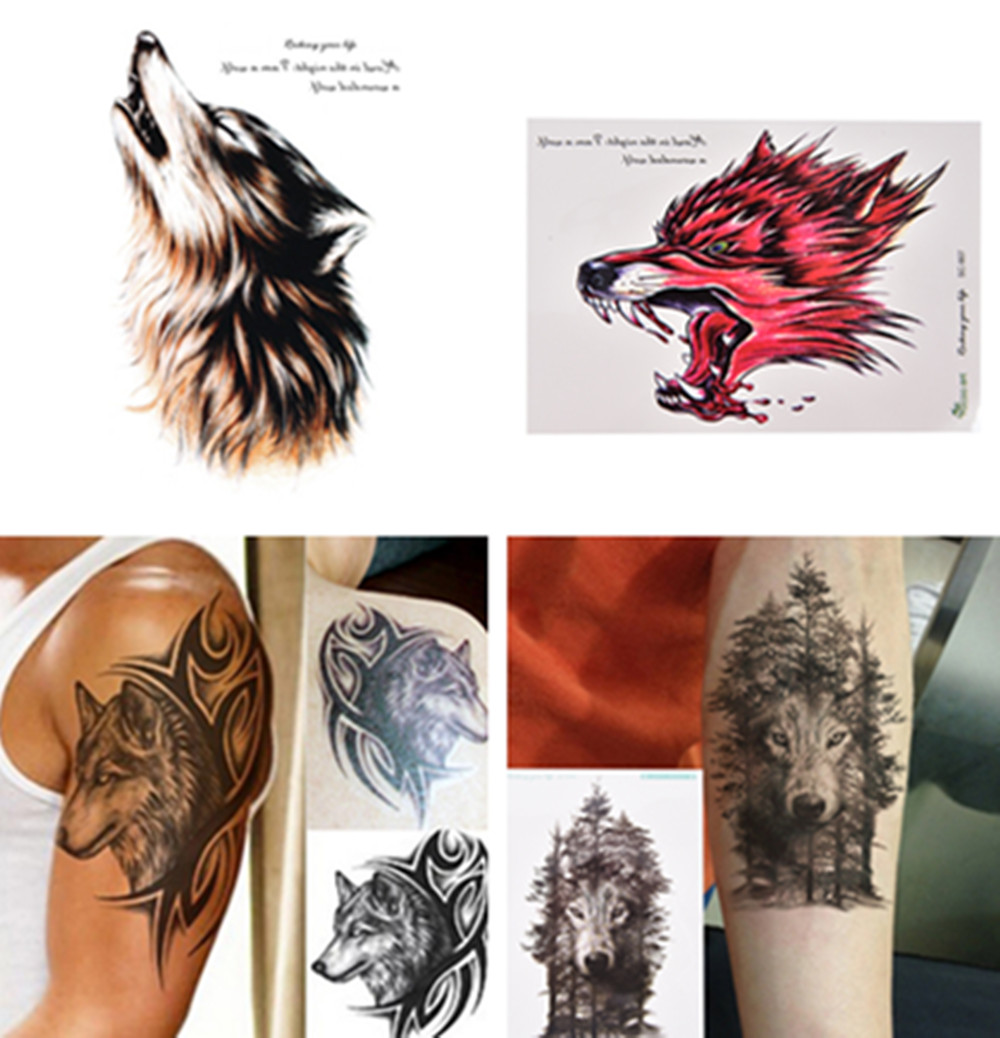 1Pc Waterproof Temporary Tattoo Sticker Wolf Forest Animal Tree With Feather Stickers Flash Fake Tattoos For Women Men Arm