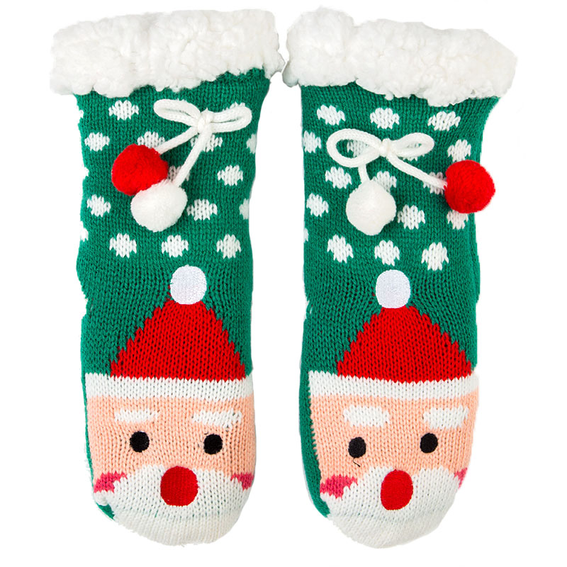 Zuzuwu Kids Slipper Socks Christmas Sock Sherpa Lined Thick Fluffy Double Layer Gripper Warm Winter Indoor