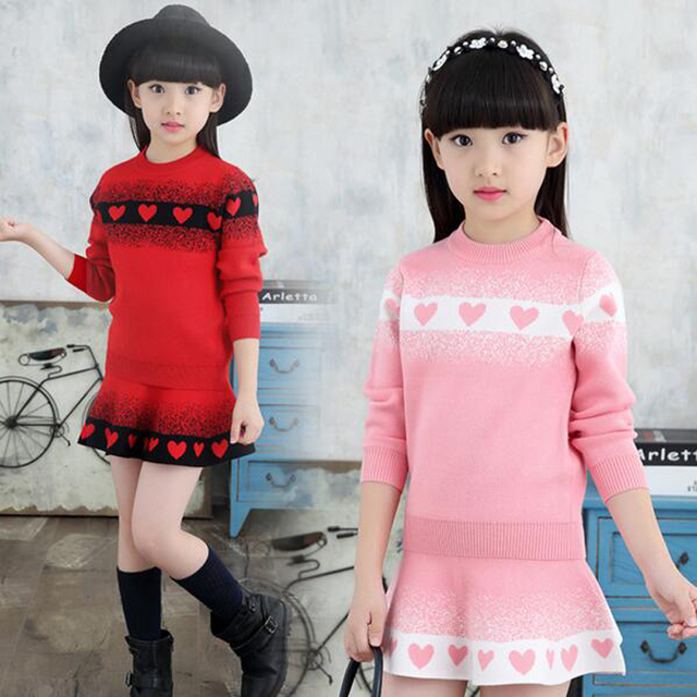 2016 new Winter Fashion 4-14Y Wool Long Sleeve Cute Girl Sweater and skirt false two pieces clothing set suits for baby girls