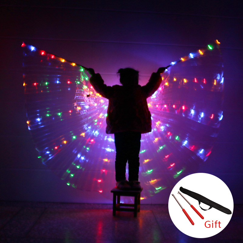 Belly Dance Wings Children LED Light Isis Wings Belly Dancing 360 Degree Egyptian Stage Performance With Sticks