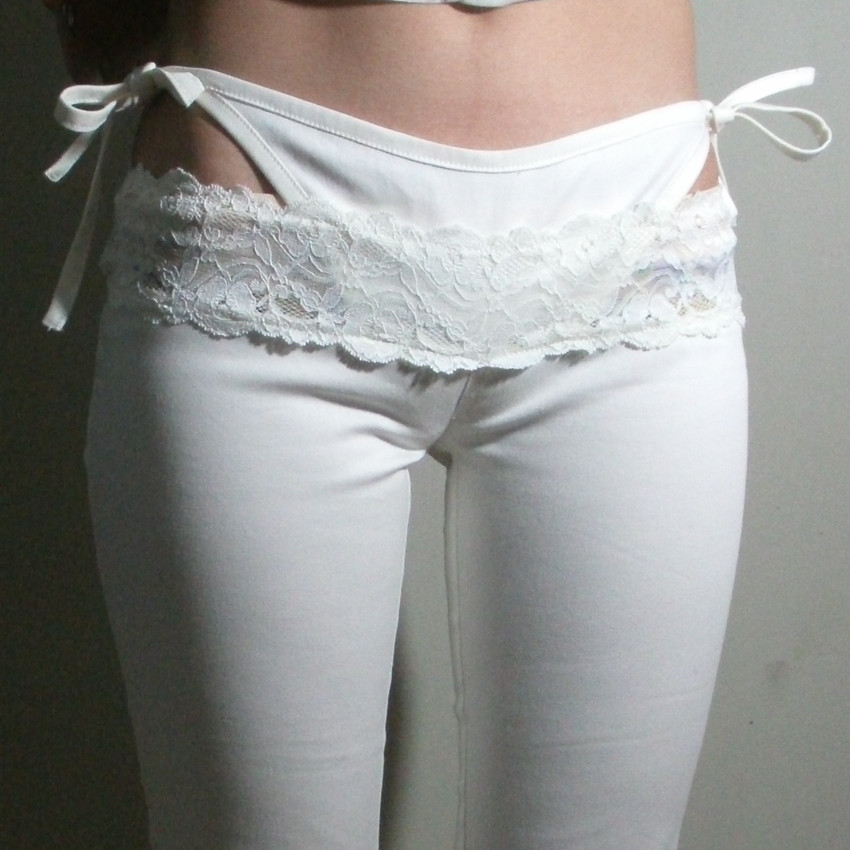 Sexy Lace Low Waist G-string Fake Two-piece   Capris   Bow Pencil   Pants   Erotic Club Wear Erotic Lingerie FX1069