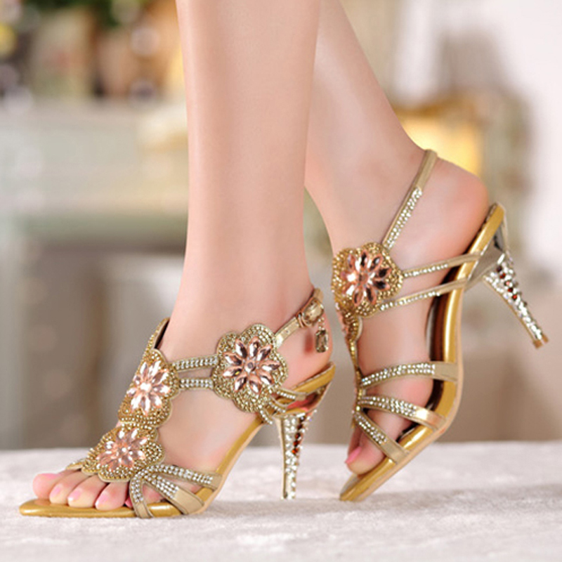 Summer Cool Middle High Heel Wedding Dresses Shoe Sandals Beaded Rhinestone  Open Toe Lady Bridesmaid Elegant Shoes Bridal-in Women s Sandals from Shoes  on ... 1d369dfe2826
