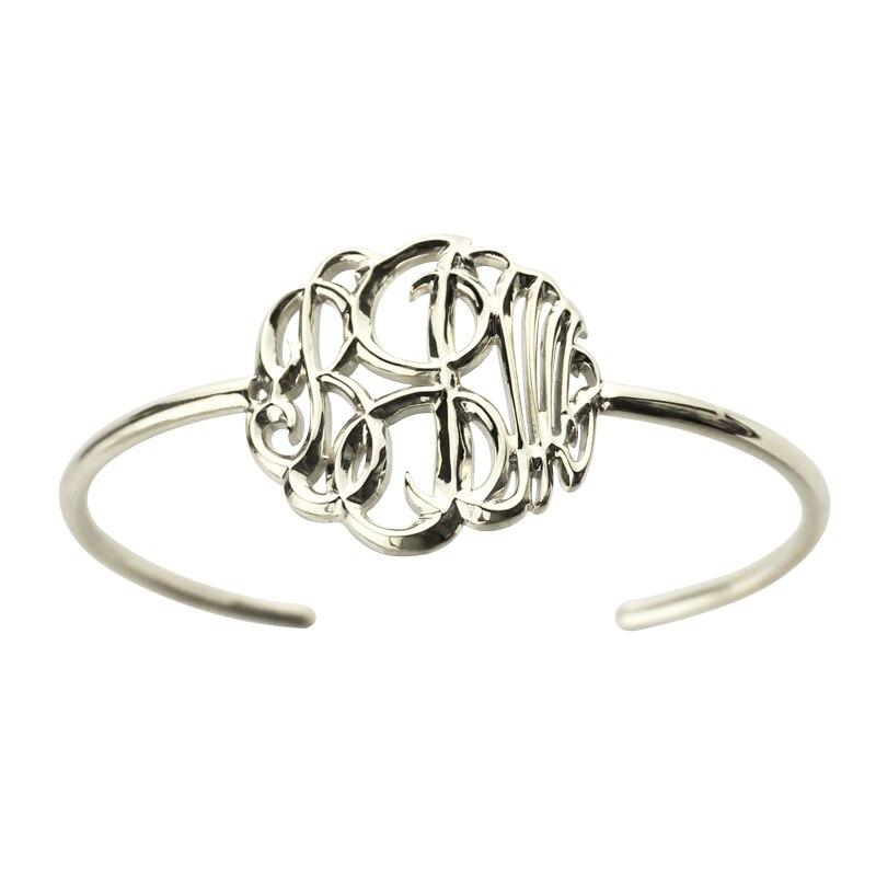 En gros personnalisé 3D monogramme Bracelet fabriqué à la main 3D initiale Bracelet en argent nom pendentif Bracelet spécial 3D bijoux
