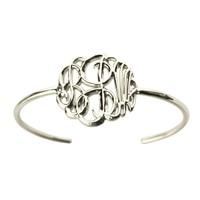 Wholesale Personalized 3D Monogram Bracelet Handcrafted 3D Initial Bracelet Silver Name Pendant Bracelet Special 3D Jewelry