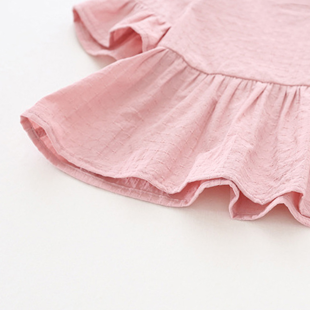 Lotus-Leaf-Short-Sleeves-Baby-Girl-Dress-Pink-White-Color-Toddler-Skirts-Solid-Princess-Blouse-Shirts-Infant-Top-Tees-Shirt-5