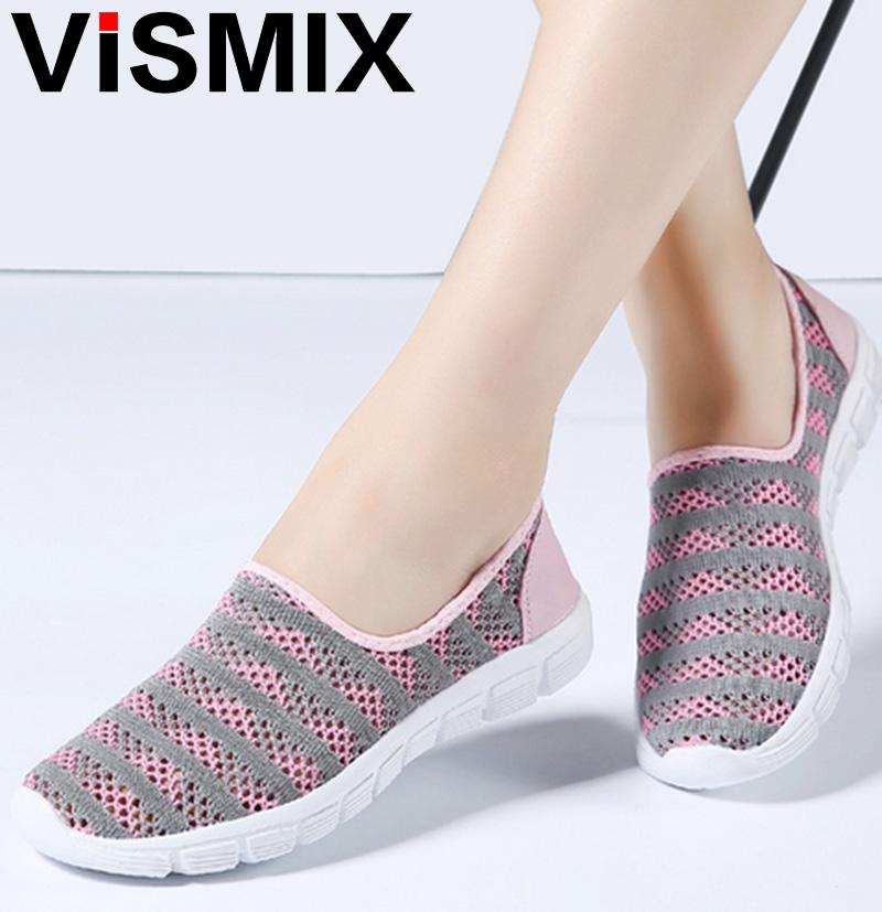 VISMIX 2018 Spring women shoes women Breathable Mesh sneakers shoes ballet flats ladies slip on flats loafers shoes Plus size forudesigns cartoon shark print women flats shoes sneakers casual women s summer mesh shoes beach girls loafers slip on zapatos