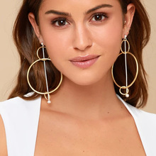 Fashion Jewelry Personality Exaggeration Tidal Creative Earrings Mixed with Geometric Elements