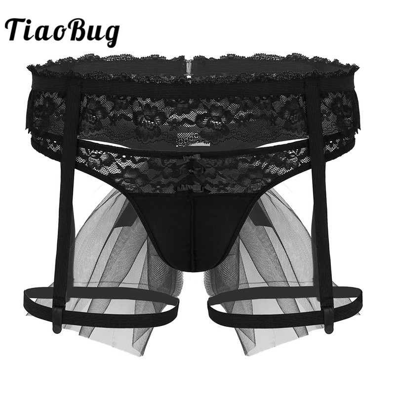 235fff671 TiaoBug Men Black Sissy Panties Lingerie Set Bridal Wedding Party Fancy  G-String Thong Lace Garter Hot Sexy Male Gay Underwear
