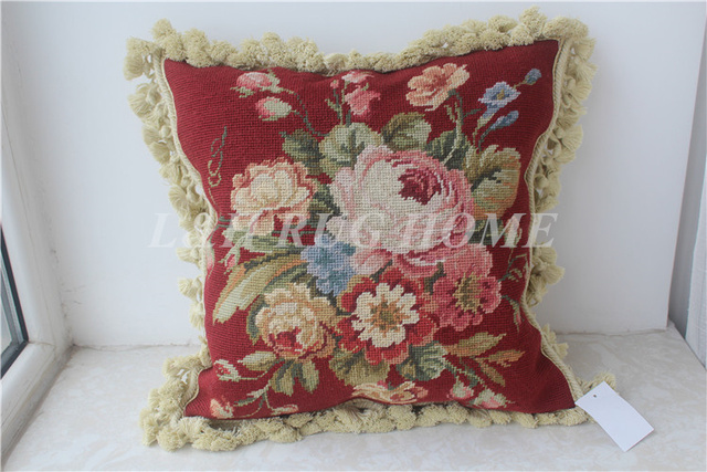 Needlepoint PillowHandmade Wool Butterfly Cushion with Checker Cording 16x16