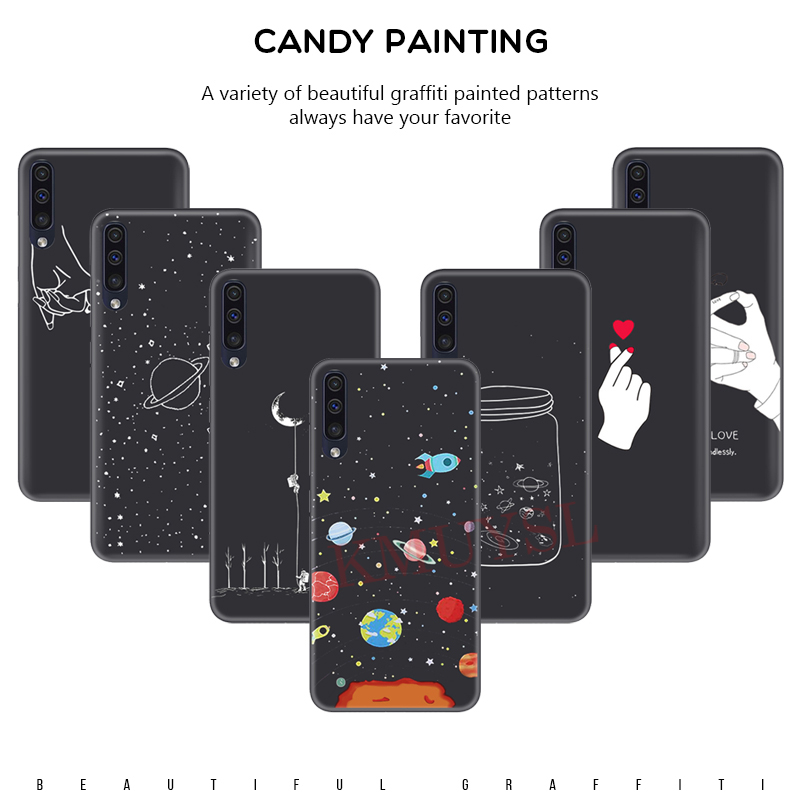 Matte Case For Samsung Galaxy A50 Case Painting Silicone Phone Case For Samsung Galaxy A30 A40 A70 M10 M20 2019 Black Cover Capa image