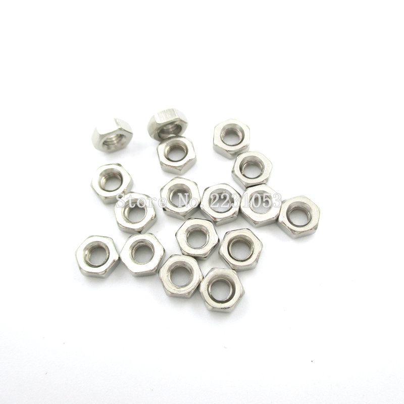 100PCS/LOT M3 Stainless Steel Hex Nut Hexagon Nuts Metric Thread Suit For Screws Bolts 360pcs lot m3 304 stainless steel machine screws with hex nuts assortment kit head cup bolts metric thread screw