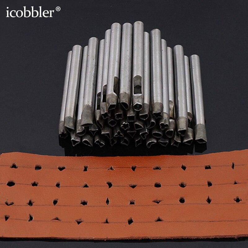 37 pièces ensemble de poinçon creux, acier artisanat fleur trou outil en cuir bracelet de montre perforateur bricolage pour portefeuille ceinture décoration diverses formes 5mm
