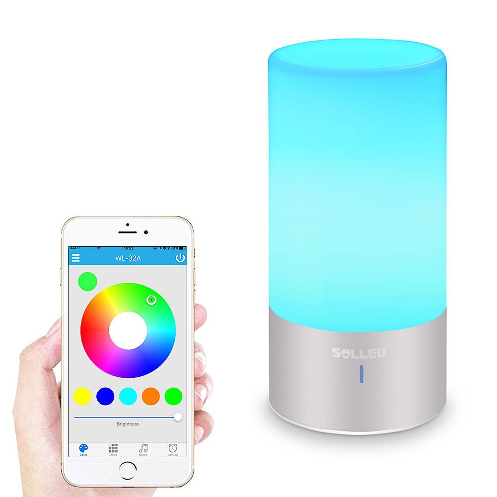 SOLLED Desk Lamp, Bluetooth Bedside Lamp Speaker, Touch Sensor Reading Lamp, Smart-phone Control,RGB Changing led touch color change night light motion sensor bedside lamp bluetooth speaker touch control support mobile phone app control