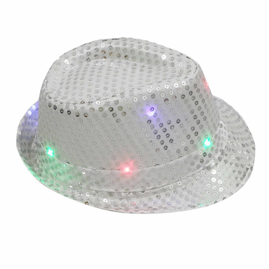 Sequin Unisex Fancy Dance Party Hat Flashing Light Up Led Colorful Hats Women's  Jazz Fedoras Hat Collapsible*1