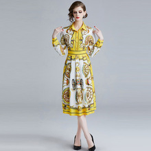 ARiby Spring 2019 New Fahion Women Dress Office Lady Print Empire Slim Long Sleeve A-Line Turn-down Mid-Calf Collar Dress long sleeved dress women 2019 spring summer new simple stripes turn down collar slim a line casual elegant dress midi s xl
