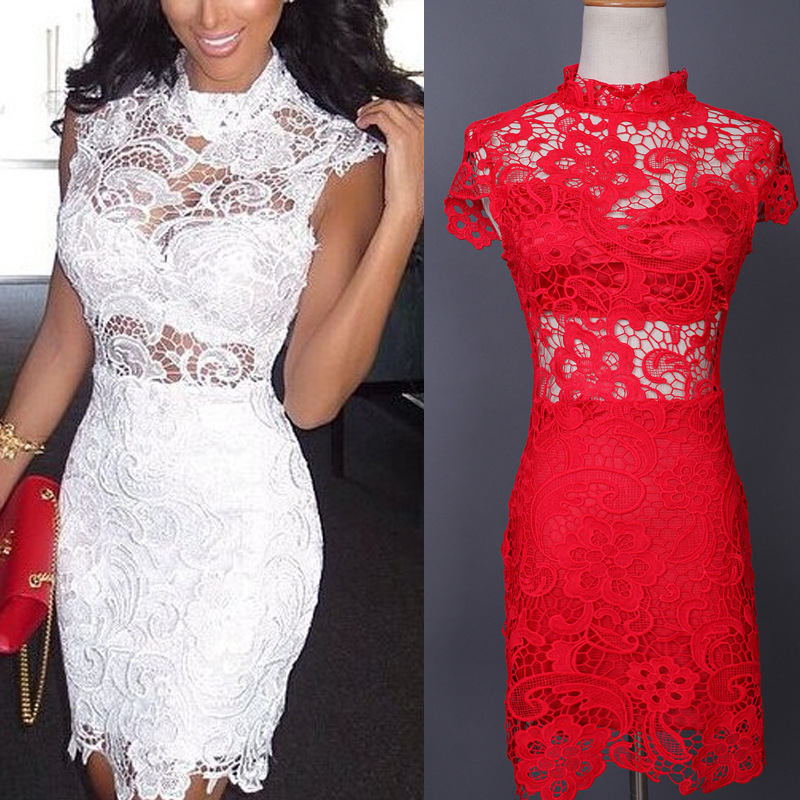 U-SWEAR Women Sexy Lace Party Dress Female 2018 Summer Sleeveless White Knee-Length Bodycon Slim Elegant Club Casual Dress