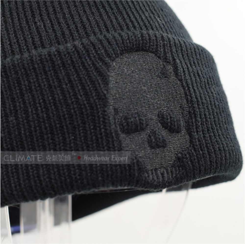 d8503ef3e98 ... CLIMATE Skeleton Mens Beanies Winter Hats for Men Warm Knitted Hat  Beanies Skulls Cool Black Hip