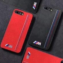 Sıcak Sınırlı Motorsport M Parça nakış kapak iphone için kılıf 6 artı 7 7 artı 8 8 artı X XR XS Max AMG Lüks araba deri couqe