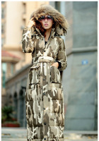 New women camouflage coats extra long duck down feather blazer jacket real fur hoodies for Lady winter clothing plus size WS2087