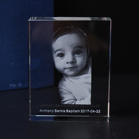 Custom 3D Image Crystal Cube Laser Engraving Baby Baptism Christening First Holy Communion Souvenirs