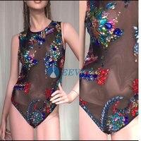 Разноцветные кристаллы боди сексуальные боди Женский для пения, танцев наряд бар костюм Go Go ведущих танцевальный костюм