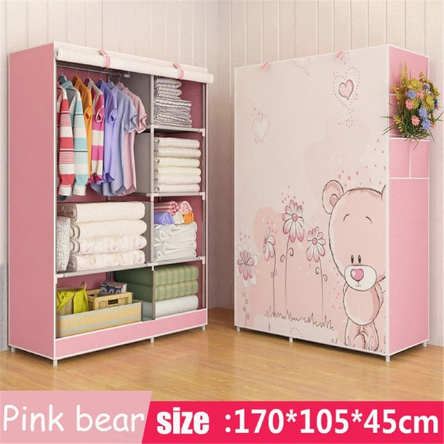 Wardrobe Chinese style design Steel frame reinforcement Standing Storage Organizer Detachable Clothing Closet furniture