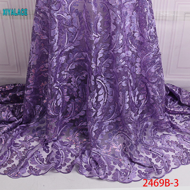 African Lace Fabric 2019 High Quality Nigerian Lace Fabrics Organza Sequins Beads Embroidery French Tulle Lace Fabric YA2469B-3
