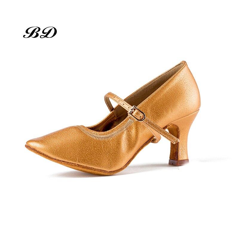 Femme Chaussures Sneakers Chaussures De Danse Salle De Bal Femmes Latine Chaussures Peau De Vache Seule Anti-dérapage Usure Authentique Garantie BD 125 TALON 5.5 CM