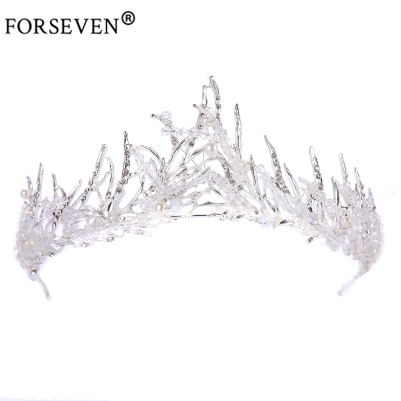 Trendy Silver Crystal Wedding Queen Crown Hair Jewelry Plated Rhinestones Tiaras Hairwear for Women Bride Wedding Accessories 03 red gold bride wedding hair tiaras ancient chinese empress hat bride hair piece