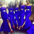 African Style Royal Blue Mermaid Bridesmaid Dresses 2017 Cheap Vestido de festa de casamento Plus Size Long Wedding Party Dress