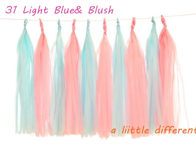 25Wx35L cm 10pcs/lot Light Blue and Mint Tissue Paper Tassel Garland Kit For Baby Shower Buffet Table Summer Pool Party Deco