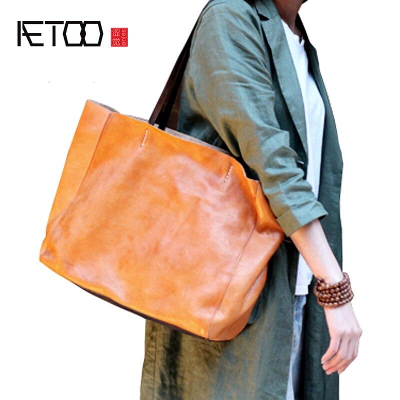 AETOO Handmade retro cross soft leather tote bag shoulder bag new simple leather large capacity literary handbags