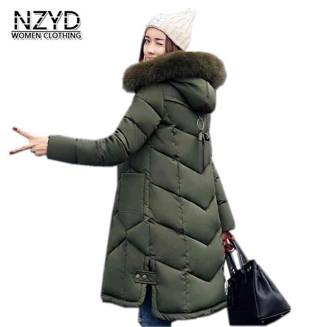 새로운 여성 겨울 코트 2017 패션 후드 농축 슈퍼 따뜻한 중간 긴 파카 긴 소매 느슨한 큰 야드 재킷 LADIES200