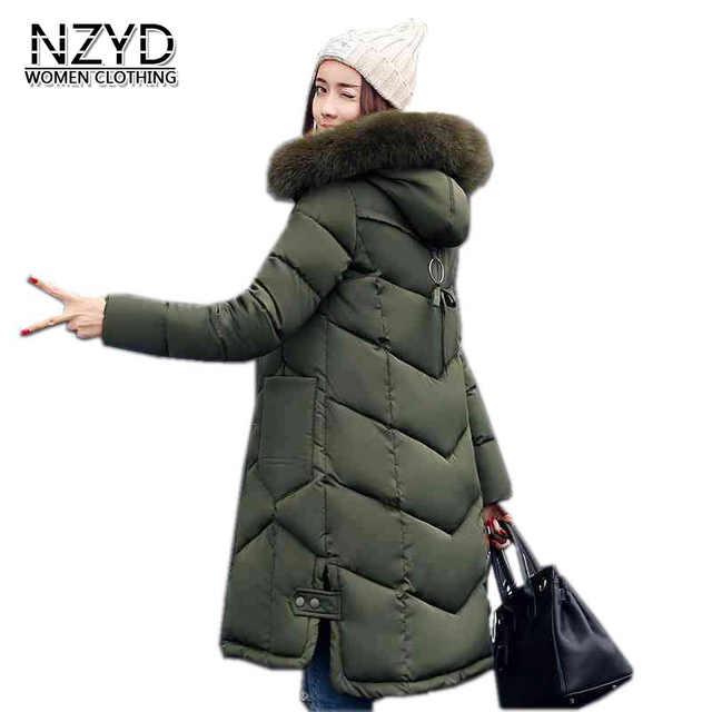 New Women Winter Coat 2017 Thời Trang Trùm Đầu Dày Siêu ấm Trung Bình dài Parkas Dài tay áo Lỏng Lớn bãi Áo Khoác LADIES200