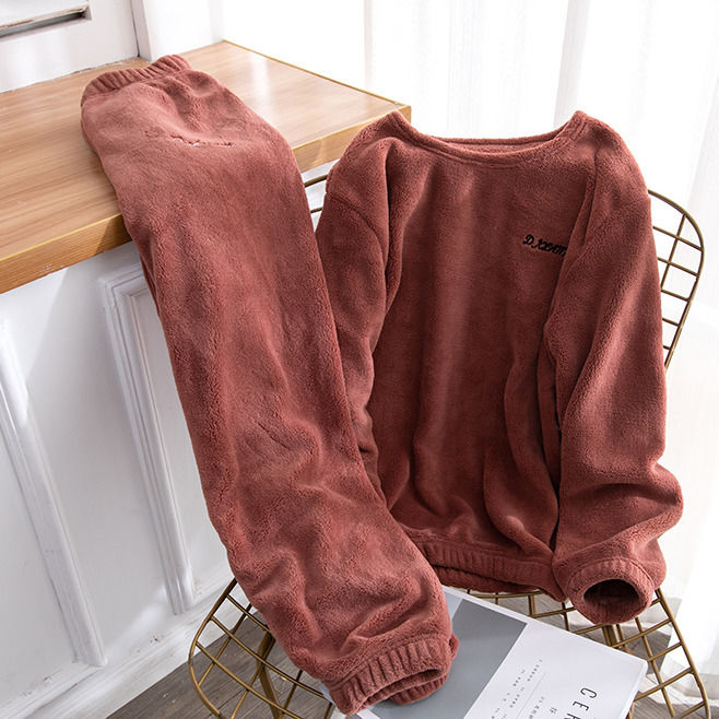 Autumn and Winter Flannel Women Pyjamas Sets Sleepwear Home Clothing Thick Warm Coral Velvet Female Nightgown Suit Pijama 27
