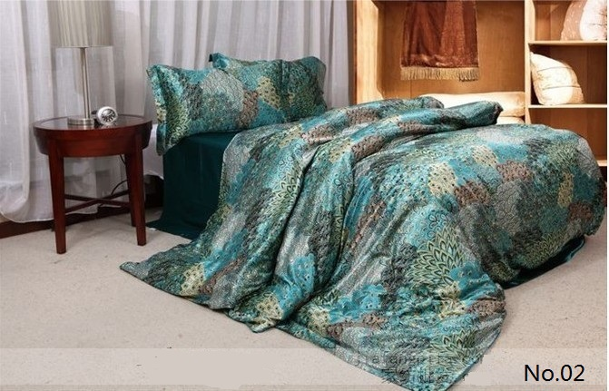 7pcs Blue Green Peacock Feather Print Silk Bedding Sets