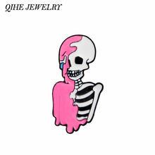 Qihe ювелирные изделия Розовый Скелет значки Броши Жесткий Эмаль