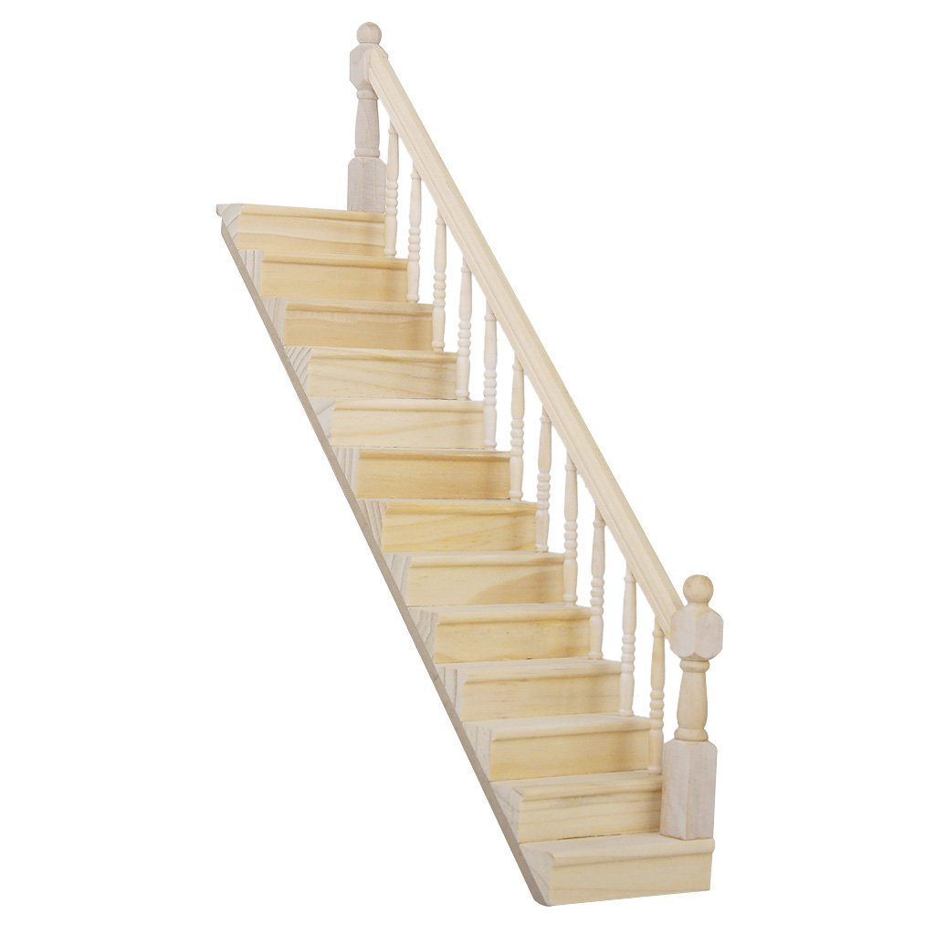 1:12 Dolls House Wooden Staircase with Right Handrail Pre-Assembled 45-Degree Slope