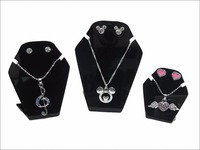 Set of Three Small Tabletop Necklace Holder And Jewelry Display Stand Earring Organizer Show Black Color