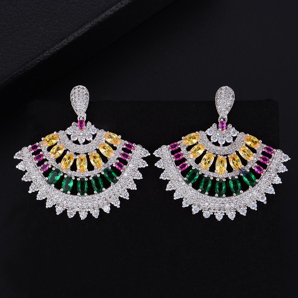 missvikki 4 Colors Fashion Trendy European American Zircon Earrings Earrings Women Bridal Wedding Jewelry Women Festival Gift