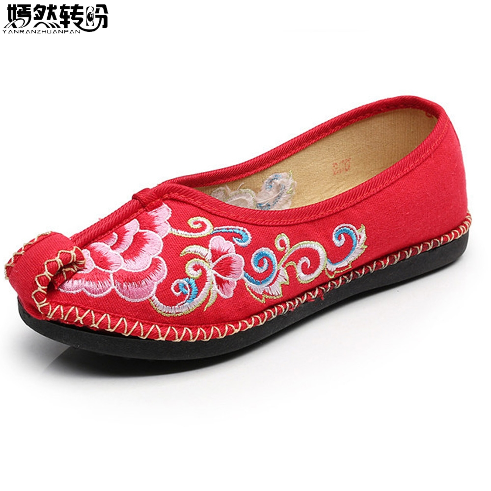 2018 New Women Flats Chinese Traditional Embroidery Canvs Shoes Casual Floral Ladies Shoes Woman Ballets Dance Single Shoes 2017 spring new women sweet floral embroidery pastoralism denim jeans pockets ankle length pants ladies casual trouse top118
