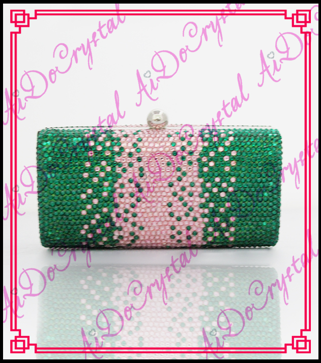 Aidocrystal green pink color gradient crystal clutch font b women b font fashion evening font b