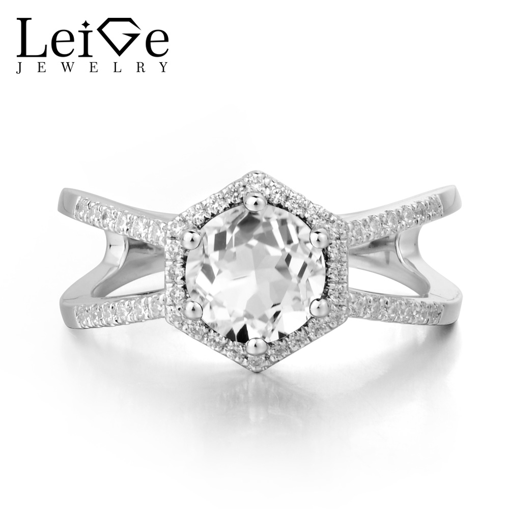 Leige Jewelry Natural White Topaz Ring Wedding Rings Round Cut Gemstone 925 Sterling Silver November Birthstone Ring for Her