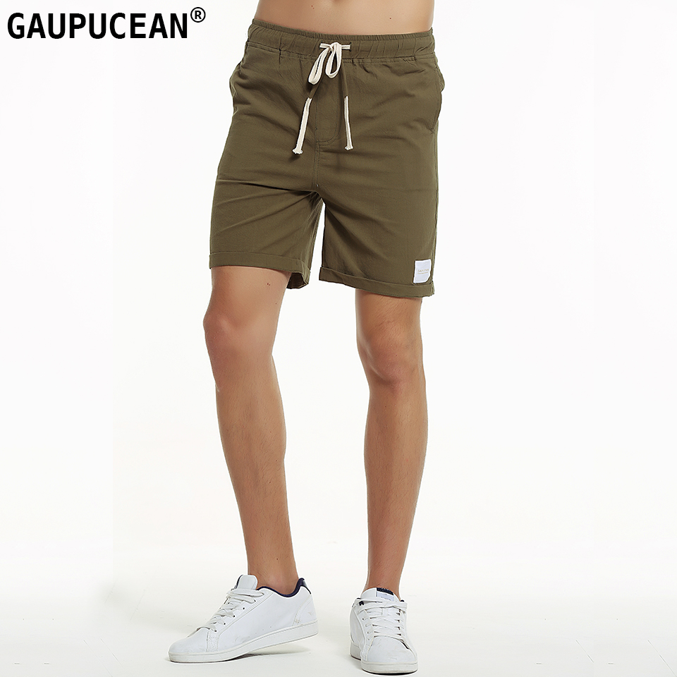 Genuine Gaupucean 100% Pure Cotton Man Short Pants Summer Cool Solid Green Navy Blue White Elastic Waist Men Casual Shorts