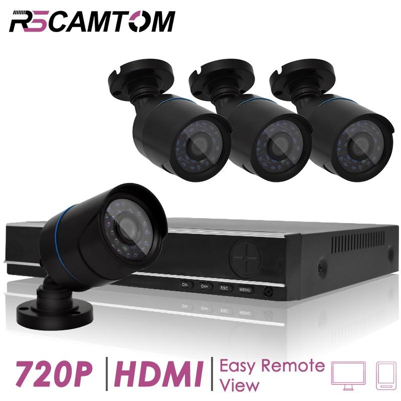 4CH 1.0MP CCTV AHD DVR Camera System Outdoor Security Video Monitor Indoor Surveillance Cameras Kit IR Night Vision 720P XMeye